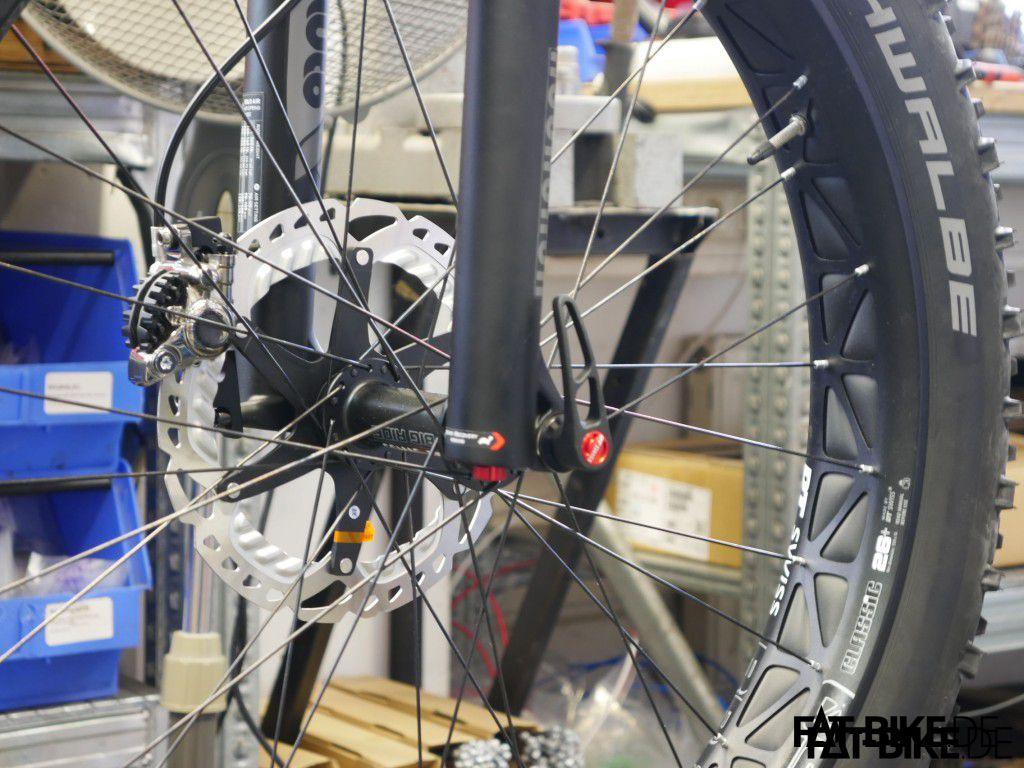 Die fertig montierte 203er XTR Bremse am DT Swiss Laufrad.