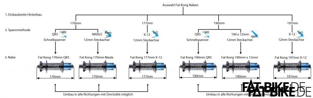 Konfigurationsmöglichkeiten der Tune FAT Kong Hinterradnabe